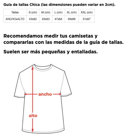 Camisetas despedida de soltera lista de tallas