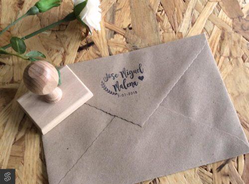 sobre kraft personalizado Sello de caucho para boda con sello de caucho