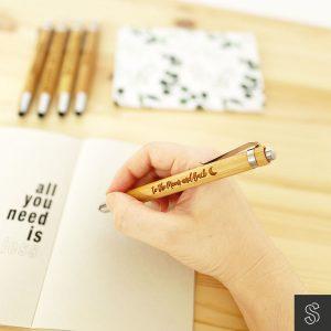 bolígrafo de bambú personalizado grabado con frase logo nombre
