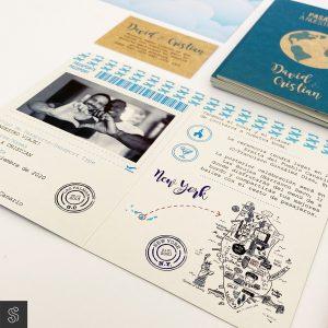 Invitación pasaporte a nuestra boda con sobre y temática viajera