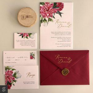 Invitaciones de Boda con acabados metalizados. Papelería para invitaciones de boda rojo dorado sello lacre tarjetas.