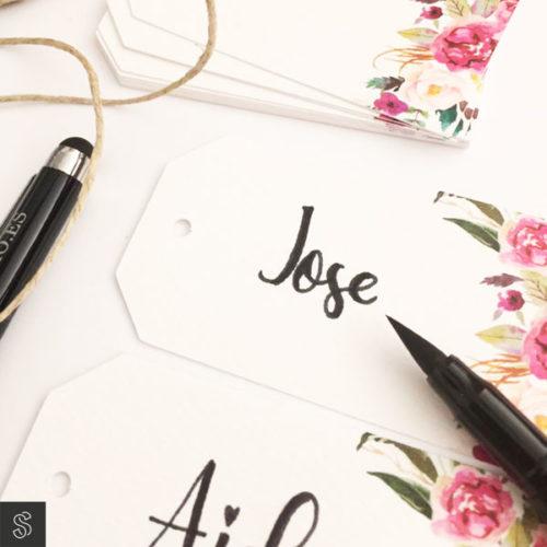 marca sitios seating etiqueta decorativa de boda