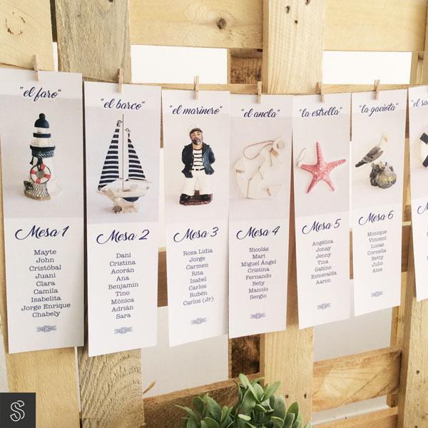 tarjetas de seating plan de boda marinera