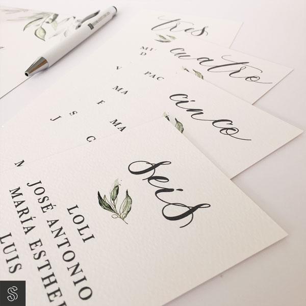 tarjetas de seating plan de boda