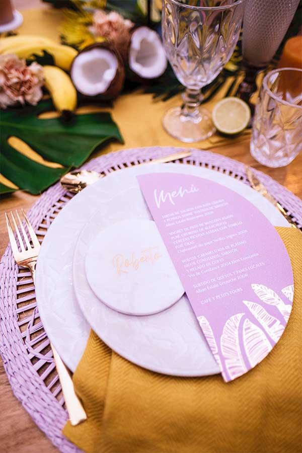 papelería de boda tropical y cálida