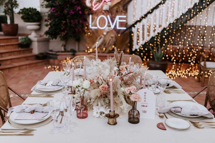 boda luxury rose decoración de mesa
