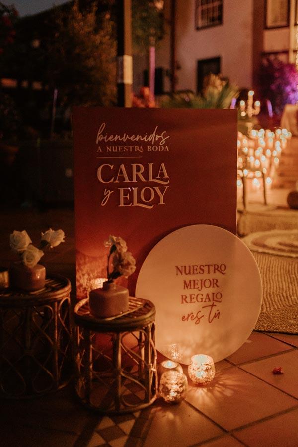 cartel de bienvenidos a nuestra boda terracota