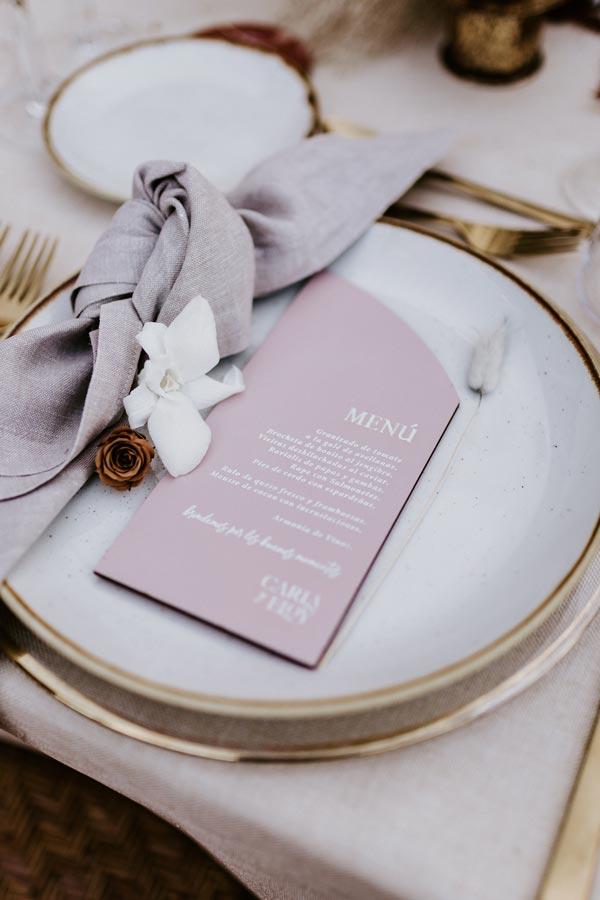 menu mesa boda luxury rose