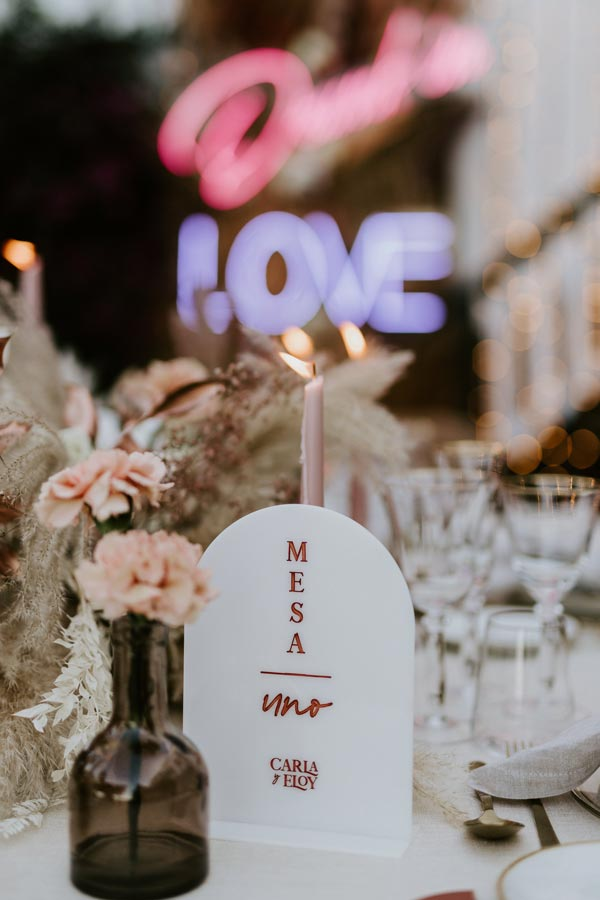número de mesa metacrilato blanco boda