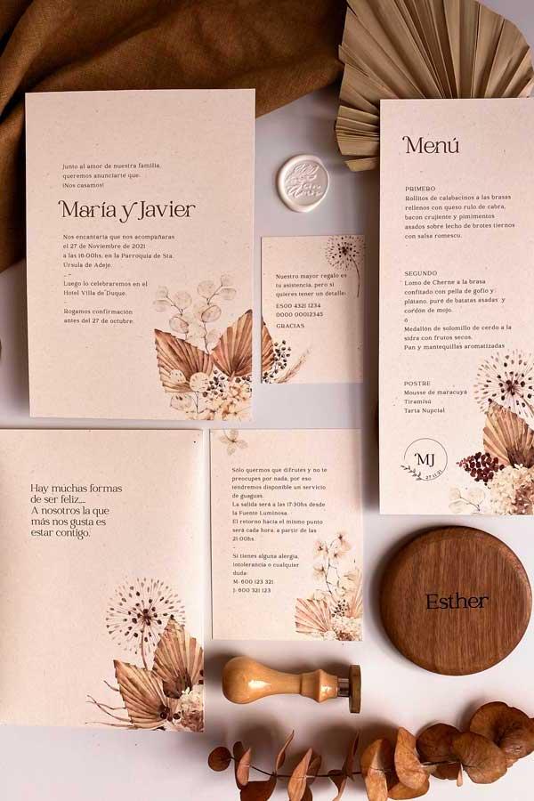 02 papeleria de boda en tonos cálidos tierra y. natural
