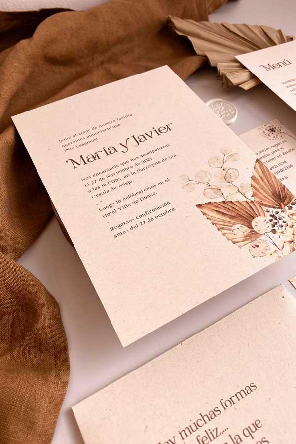 03 papeleria de boda en tonos cálidos tierra y. natural