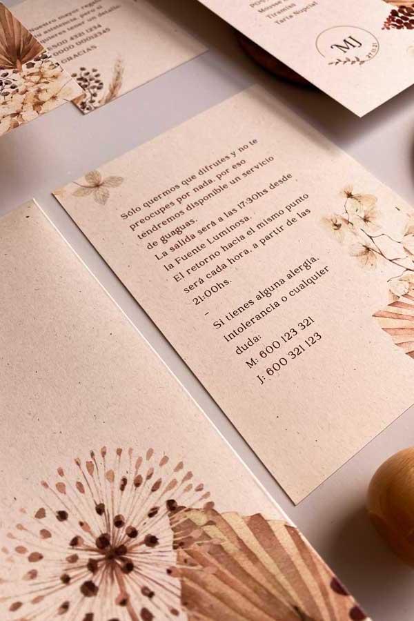 04 papeleria de boda en tonos cálidos tierra y. natural