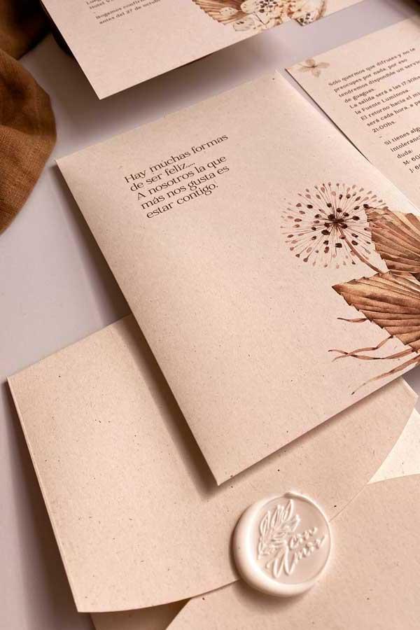 05 papeleria de boda en tonos cálidos tierra y. natural