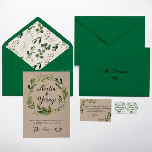 invitación vegetal verde