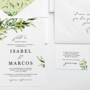 invitación olivo para boda