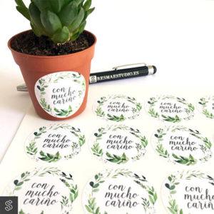 pegatinas adhesivas de 37mm impresas con motivos florales y vegetales